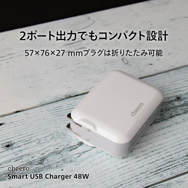 USB タイプC タイプA 2ポート アダプタ 充電器 パワーデリバリー QC3.0 合計 出力 48W 急速充電 チーロ cheero Smart USB Charger コンパクト|cheeromart|05