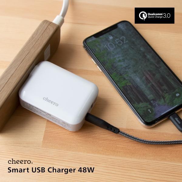 USB タイプC タイプA 2ポート アダプタ 充電器 パワーデリバリー QC3.0 合計 出力 48W 急速充電 チーロ cheero Smart USB Charger コンパクト|cheeromart|07