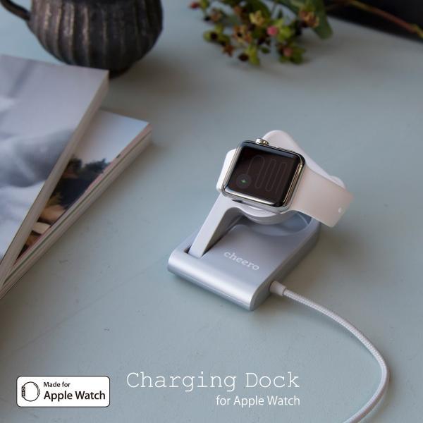 アップルウォッチ専用 充電スタンド チーロ cheero Charging Dock for Apple Watch MFi認証 ワイヤレス充電 折り畳み スタンド ケーブル長さ 90cm cheeromart 08