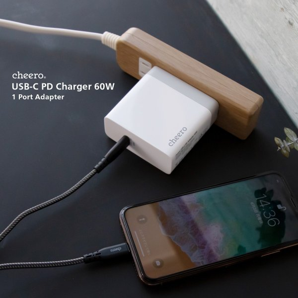 USB 充電器 type-c タイプC パワーデリバリー 60W アダプタ チーロ cheero USB-C PD Charger 高速充電 折り畳み式プラグ cheeromart 05