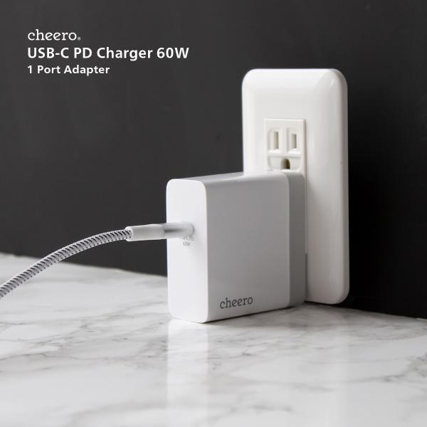 USB 充電器 type-c タイプC パワーデリバリー 60W アダプタ チーロ cheero USB-C PD Charger 高速充電 折り畳み式プラグ cheeromart 06