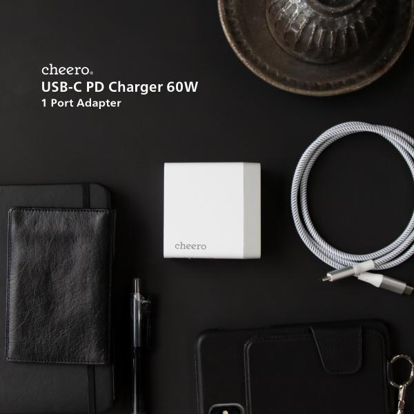 USB 充電器 type-c タイプC パワーデリバリー 60W アダプタ チーロ cheero USB-C PD Charger 高速充電 折り畳み式プラグ cheeromart 07