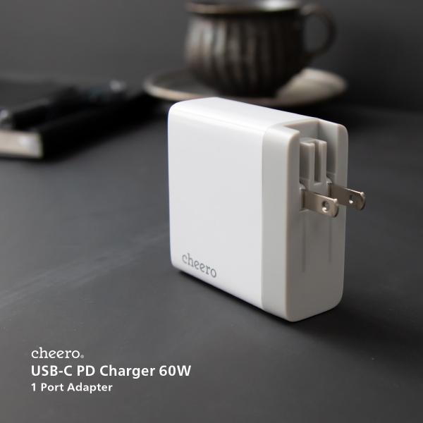 USB 充電器 type-c タイプC パワーデリバリー 60W アダプタ チーロ cheero USB-C PD Charger 高速充電 折り畳み式プラグ cheeromart 08