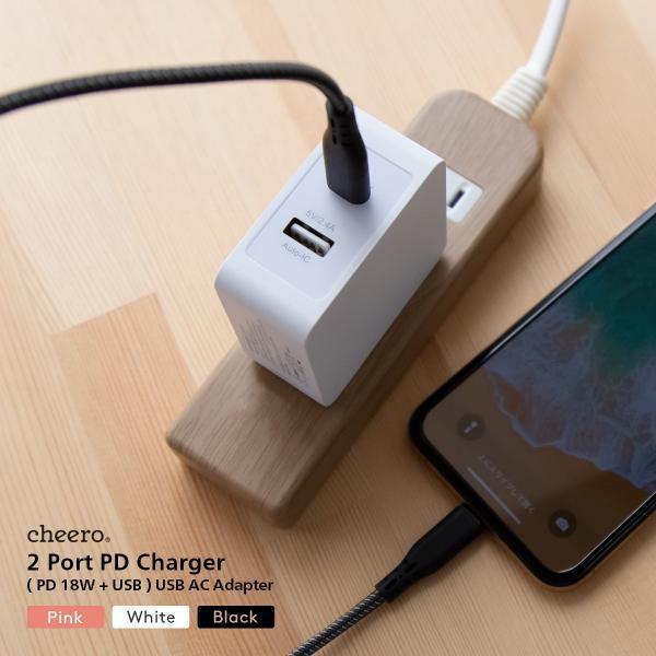 USB タイプC タイプA 2ポート アダプタ 充電器 パワーデリバリー 18W 合計 出力 30W チーロ cheero 2 port PD Charger 小型 高速充電 折り畳み式プラグ|cheeromart|08