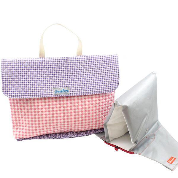 ピンクチェック×パープルチェック 防災頭巾カバー 安心 安全 日本製《入園・入学》
