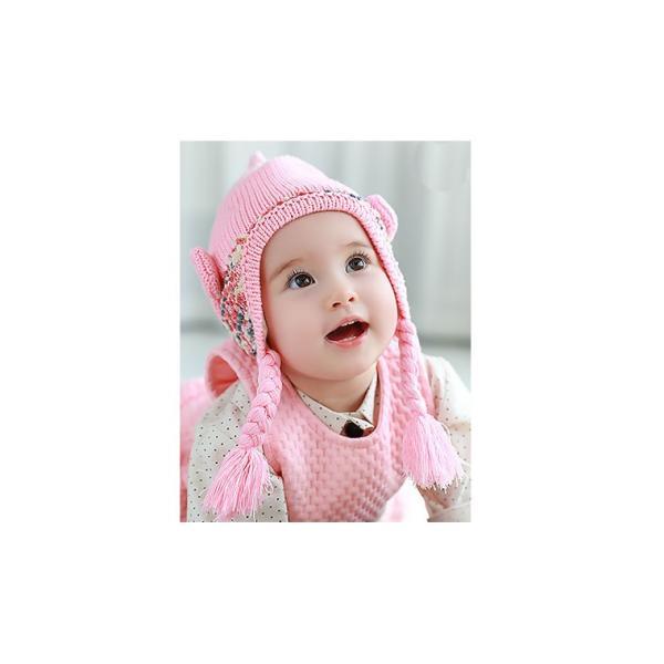 8aad2a298e51d ... ニット帽 ベビー用 リボンと三つ編みがかわいいニット帽子 子供用 赤ちゃん ...