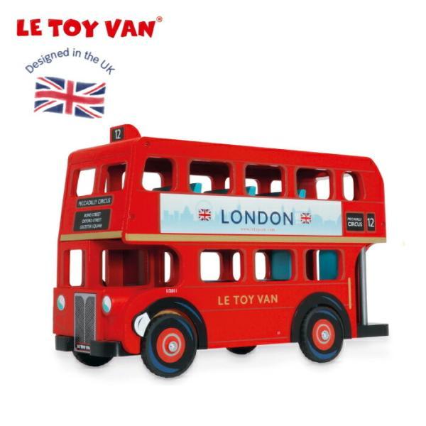 ロンドンバス 車 お人形ごっこ ミニチュア 二階建て ままごと 木の