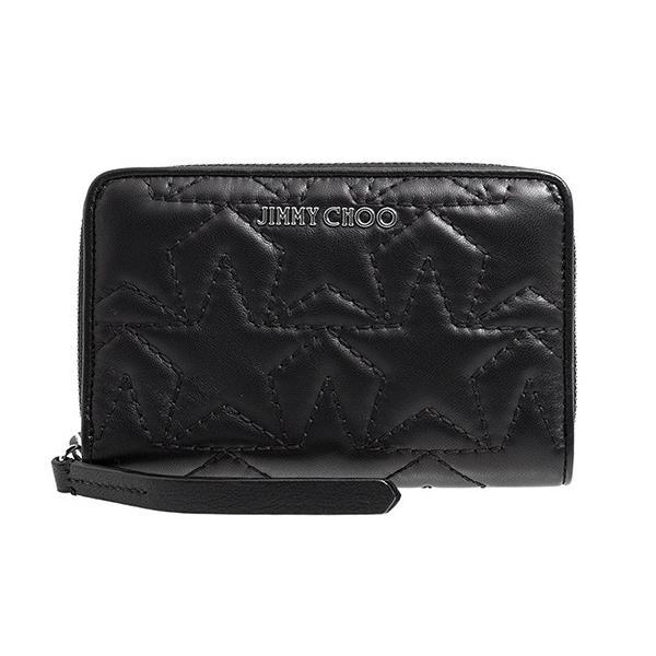 ジミー チュウ JIMMY CHOO 財布 レディース ラウンドファスナー二つ折り財布 ブラック STAR MATELASSE NAPPA HALLEY TMN 191 BLACK/SILVER
