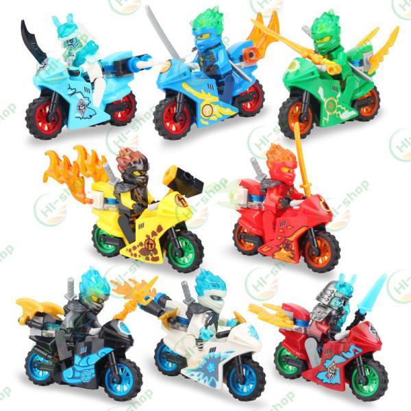 レゴニンジャLEGO忍者ブロックレゴミニフィグ8体セットオートバイク互換品キャラクタークリスマスプレゼント誕生日プレゼント入園ギ