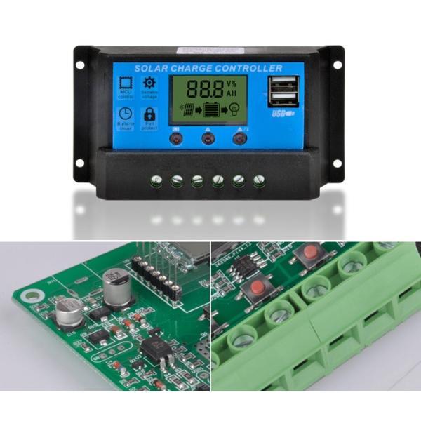 USB ソーラー充電コントローラー 20A 12V/24V デュアル USB出力 ソーラーレギュレータ CHI-KLD1220|chic|02