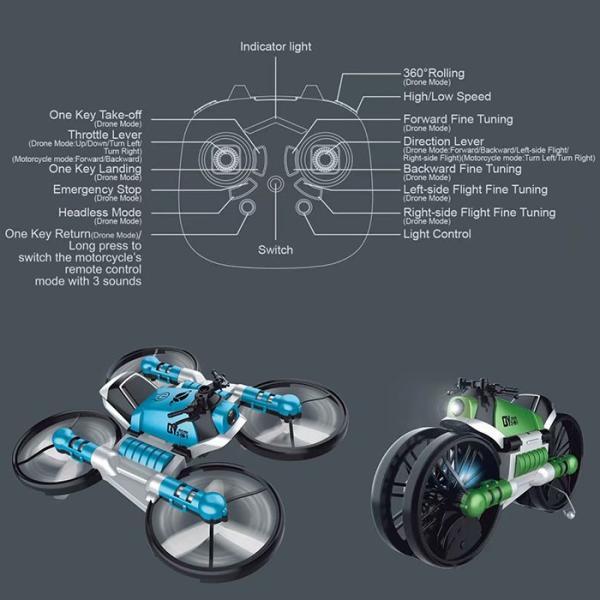 トランスフォームドローン コントローラー付き 陸空両用 バイクの形にもなる トイドローン リモートコントロール 14歳以上 ◇CHI-QY66-D08-B|chic|04