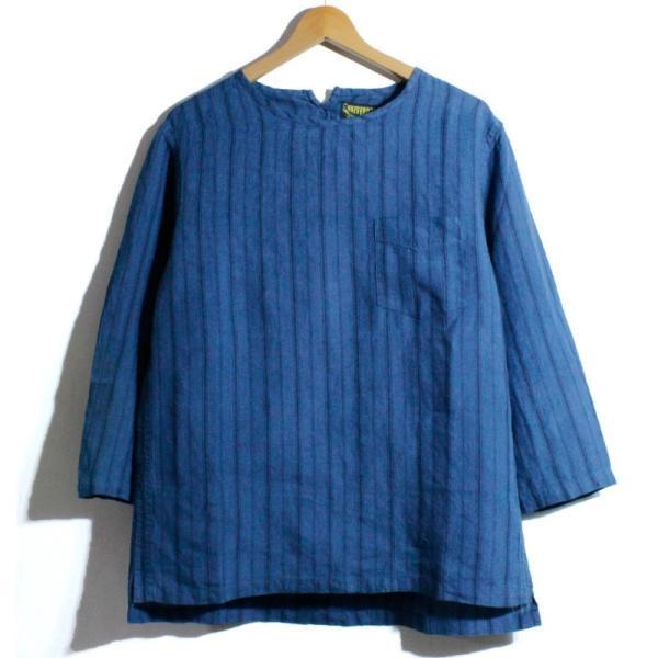 ノーカラーシャツ 7分袖 ストライプ プルオーバー リネンシャツ 青 ブルー UNIVERD72 ユニバード72 chiki-2