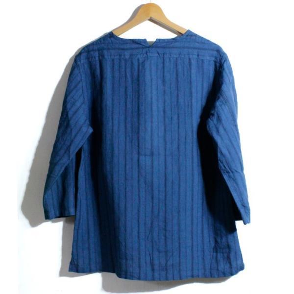 ノーカラーシャツ 7分袖 ストライプ プルオーバー リネンシャツ 青 ブルー UNIVERD72 ユニバード72 chiki-2 02
