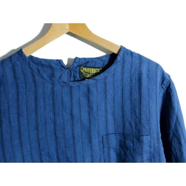 ノーカラーシャツ 7分袖 ストライプ プルオーバー リネンシャツ 青 ブルー UNIVERD72 ユニバード72 chiki-2 03