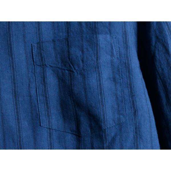 ノーカラーシャツ 7分袖 ストライプ プルオーバー リネンシャツ 青 ブルー UNIVERD72 ユニバード72 chiki-2 04