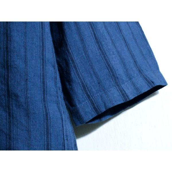 ノーカラーシャツ 7分袖 ストライプ プルオーバー リネンシャツ 青 ブルー UNIVERD72 ユニバード72 chiki-2 05