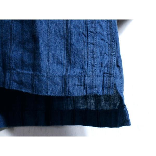 ノーカラーシャツ 7分袖 ストライプ プルオーバー リネンシャツ 青 ブルー UNIVERD72 ユニバード72 chiki-2 06