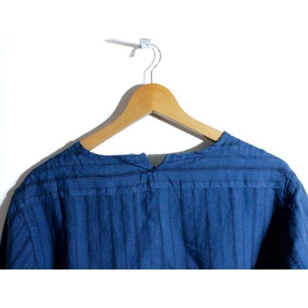 ノーカラーシャツ 7分袖 ストライプ プルオーバー リネンシャツ 青 ブルー UNIVERD72 ユニバード72 chiki-2 07