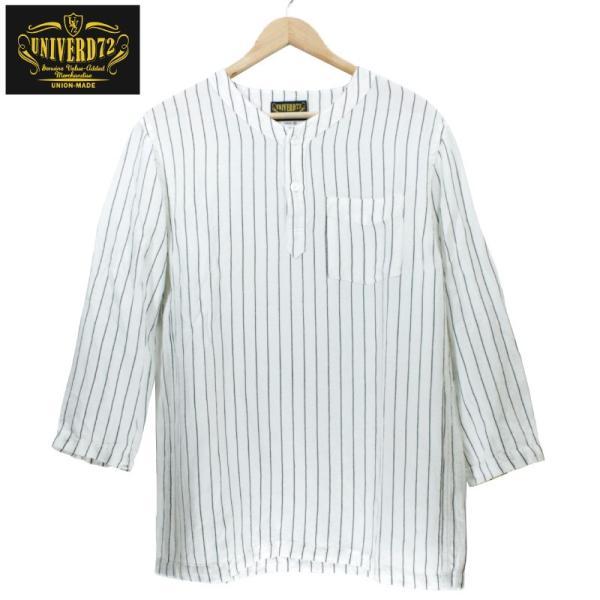 ノーカラーシャツ 7分袖 ストライプ プルオーバー ヘンリーネック 白 ホワイト UNIVERD72 ユニバード72 chiki-2