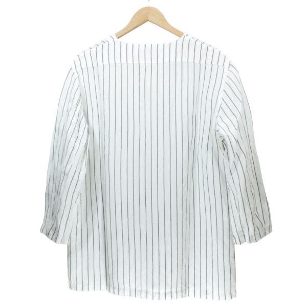 ノーカラーシャツ 7分袖 ストライプ プルオーバー ヘンリーネック 白 ホワイト UNIVERD72 ユニバード72 chiki-2 02