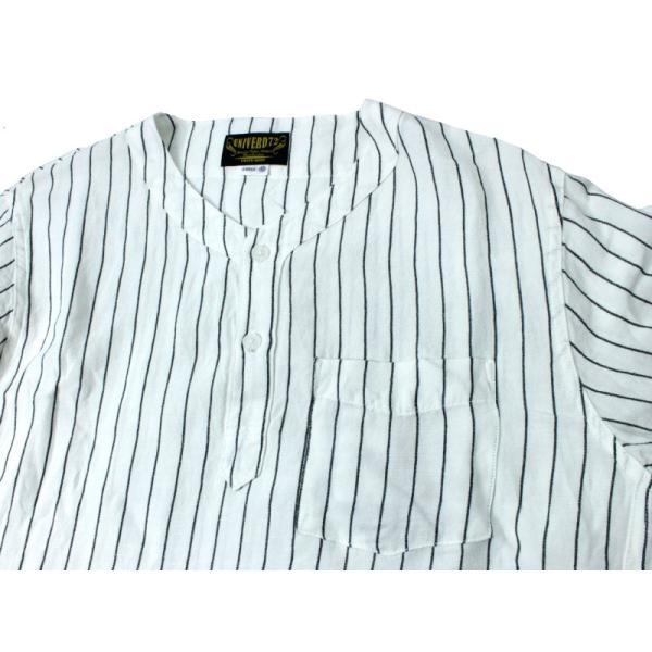 ノーカラーシャツ 7分袖 ストライプ プルオーバー ヘンリーネック 白 ホワイト UNIVERD72 ユニバード72 chiki-2 03