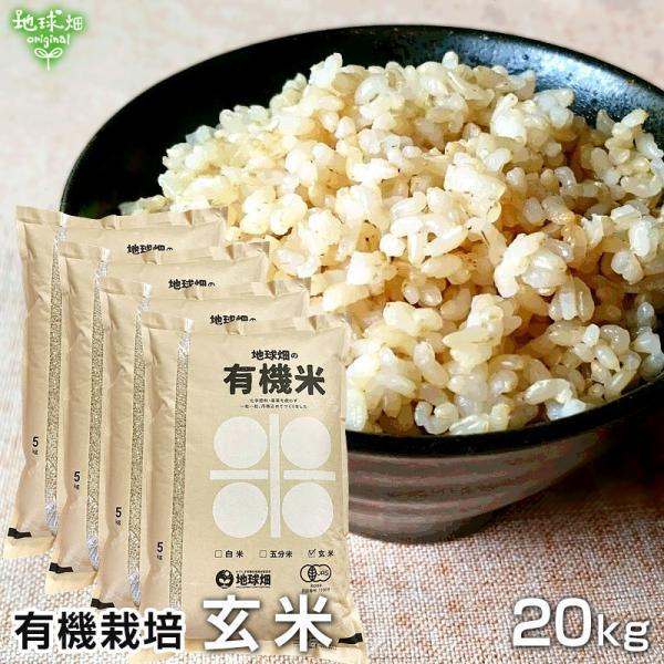 有機玄米 20kg 令和3年産 2021年産 鹿児島県 有機栽培 有機JAS認証 化学肥料・農薬・除草剤不使用 送料無料 まとめ買い 20キロ