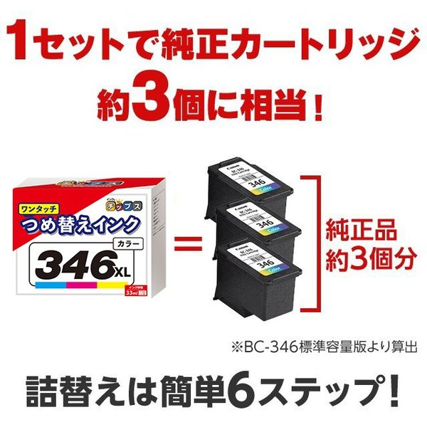 BC-345XL BC-346XL BC345 BC346 キャノン プリンターインク ブラック+カラー ワンタッチ詰め替えインク bc345 bc346 PIXUS TS3130 TS203 TR4530(あすつく)|chips|03