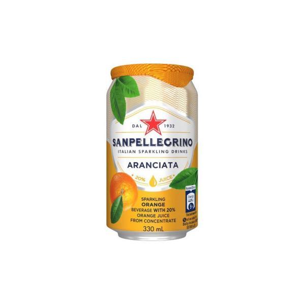 サンペレグリノ スパークリンクドリンク アランチャータ(オレンジ)缶 330ml 24個セット W1-31|chiwaze