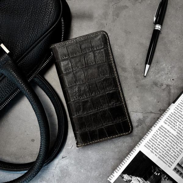 AQUOS R compact 701SH ケース 701SHカバー 701SHケース 手帳 クロコダイル型押し本革 手帳型 アクオスR2 コンパクト SHV41 SH-M06 にも対応 SHM06 カバー|chleste|03