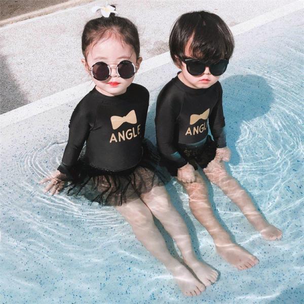 女の子子供水着ワンピース型水着男の子体型カバー長袖水着韓国風女の子可愛い温泉スイムウェアビーチスイムウエア