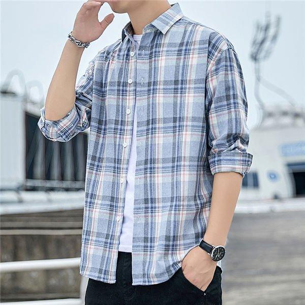 メンズ長袖シャツオシャレ長袖チェック柄前開きシャツかっこいいゆったりピンク大きいサイズ男性ブルー送料無料
