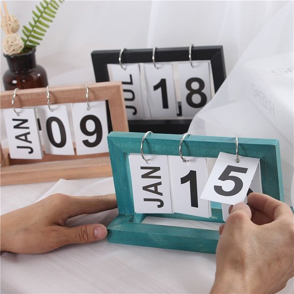 万年カレンダー 木製 カレンダー ウッドカレンダー 卓上カレンダー 日替わり 再利用可能 日めくりカレンダー おしゃれ インテリア 3色選び