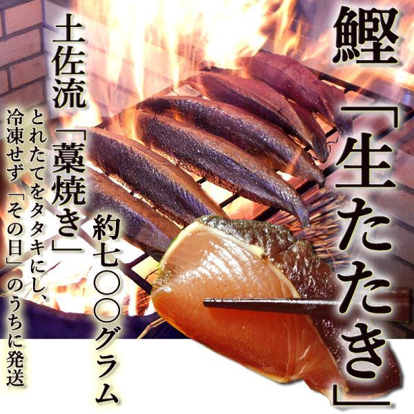 鰹 生たたき 約700g 4〜5人前 藁焼き 日時指定が必要 冷蔵 最上級品 かつお カツオ タレ・薬味つき 国産 とれたてを発送[Qok7]