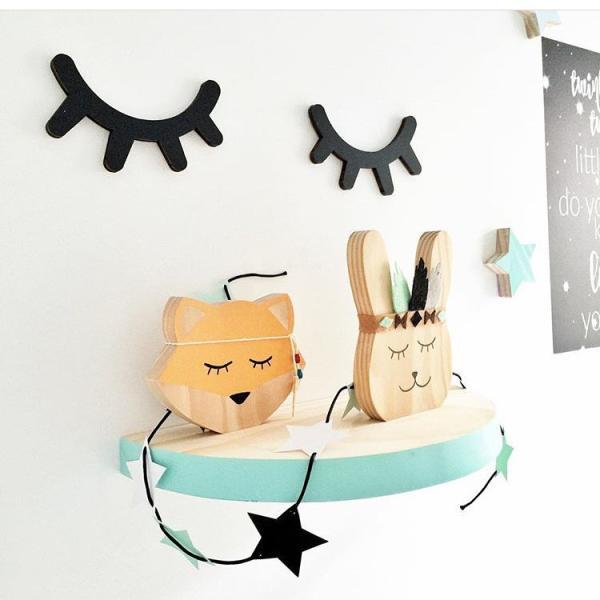 RoomClip商品情報 - まつげウッドオブジェ 2個set ウォールステッカー 壁飾り ウッドインテリア 北欧雑貨  モノトーン ベビーキッズルーム