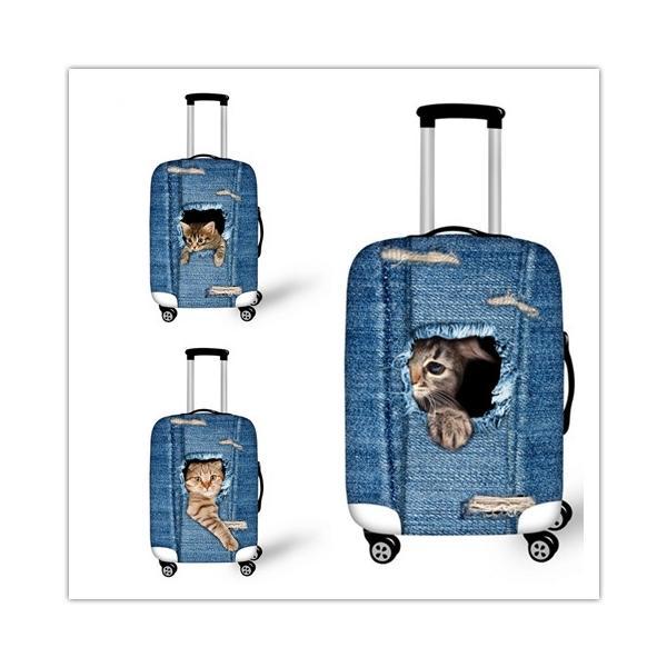 旅行用品 スーツケースカバー 個性的 3Dペット 犬 Dog 猫 Cat カワイイ S M L 18-20/22-24/26-28インチ対応/擦り傷 保護 汚れ ターンテーブル 守る