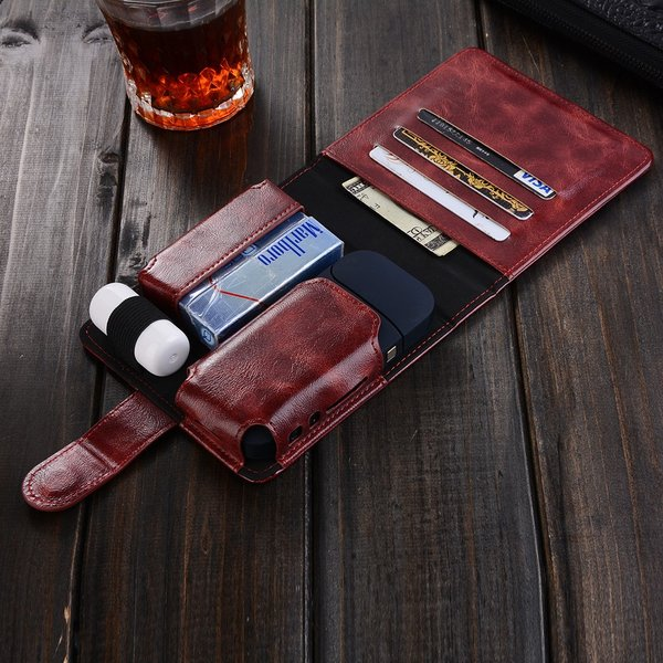 iQOS専用レザーケース/アイコス レザー調 財布型ケース/カード収納可能!本体 ヒートスティック クリーナー一つ収納/オールインワン