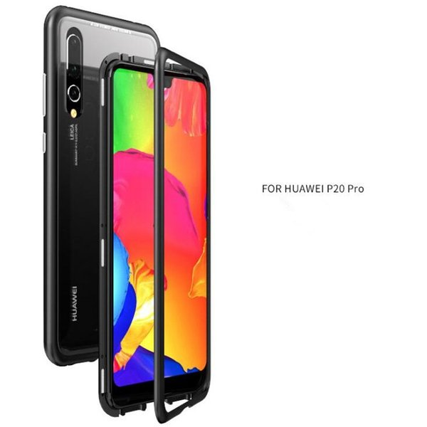 最新!Huawei P20 Pro/Huawei P20用背面強化ガラス+アルミバンパーケース スマホ保護カバー 背面透明 完全保護 マグネット式 磁力で接続 軽量薄型