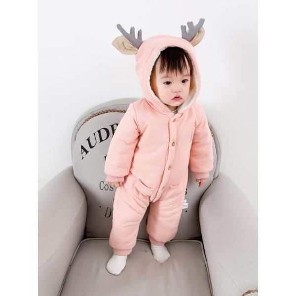21cfded635c86 ... ベビー服 赤ちゃん服 鹿タイプパジャマカバーオール ロンパース フード付きスリープウェア ジャンプ ...