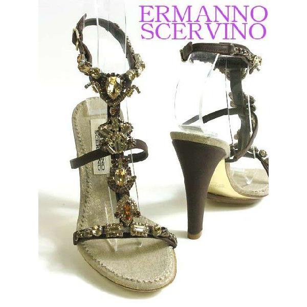 ERMANNO SCERVINO スワロフスキーフォーマルサンダル EUサイズ-36/23.0cm〜23.5cm ラインストーン ブラウン/茶 アンクル Tストラップ レディース 靴