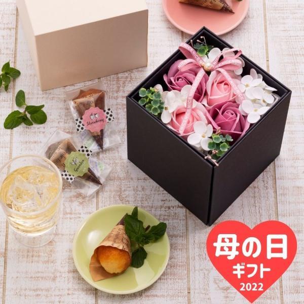 母の日2021ギフト花スイーツプレゼントソープフラワー焼き菓子フィナンシェフラワーボックス(北海道東北別途600円追加)