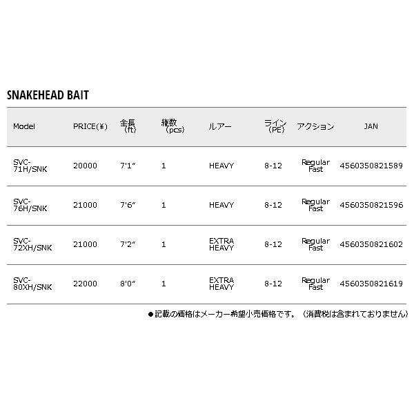 ≪'17年8月新商品!≫ メジャークラフト セルヴァ 雷魚 SVC-72XH/SNK 〔仕舞寸法 164cm〕 【保証書付】 【大型商品1/代引不可】