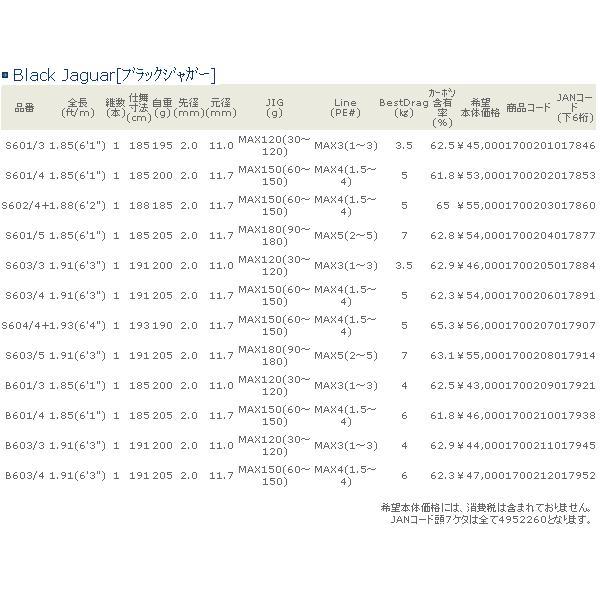 ≪'17年5月新商品!≫ 宇崎日新 ブラック ジャガー S601/4 〔仕舞寸法 185cm〕 【保証書付】 【大型商品1/代引不可】