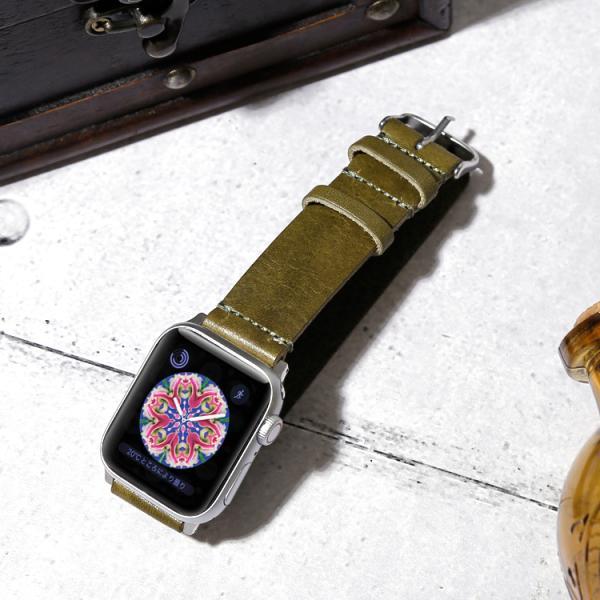 Apple watch バンド ベルト series 5 4 3 アップルウォッチ5 革 38mm 40mm 44mm 42mm 本革 栃木レザー 牛革 交換 おしゃれ メンズ レディース ミリタリー|choupet|07