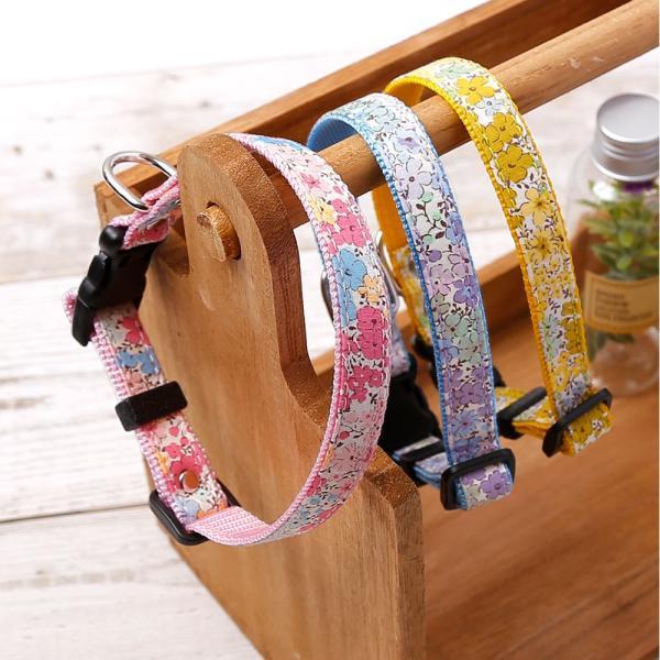 犬 首輪 犬の首輪 小型犬 ナイロン 軽量 ファブリック 生地 花柄 コットン 綿 おしゃれ かわいい カラー 15mm 名前入り|choupet|03