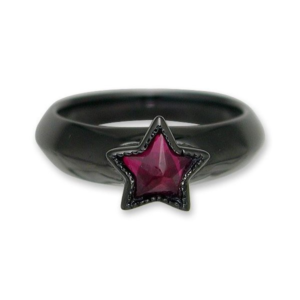 KING LIMO(キングリモ):One Star Ring/Black Plate w/Synthetic Ruby(ワンスターリング/ブラックコーティングw/シンセティックルビー)