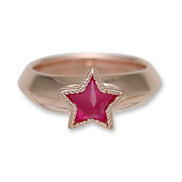 KING LIMO(キングリモ):One Star Ring/18K Pink Gold Plate w/Synthetic Ruby(ワンスターリング/18Kピンクゴールドコーティングw/シンセティックルビー)