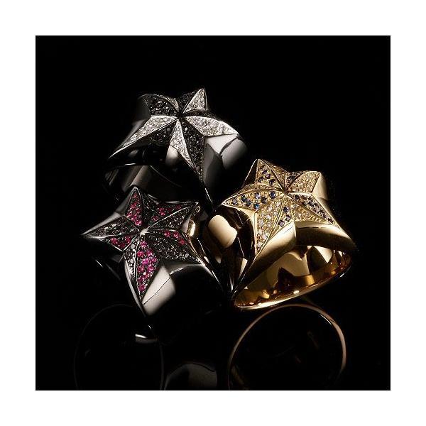 KING LIMO:Rock Star Ring /Black Plate w/Pave Black Diamond&Ruby(ロックスターリング/ブラックコーティングw/パヴェブラックダイヤモンド&ルビー)