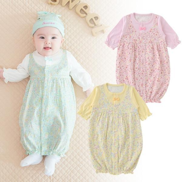 f6055e7208b6b ベビー服 赤ちゃん 服 ベビー ツーウェイオール 女の子 新生児 2wayオール ドレスオール スウィートガール長袖ツーウェイオール