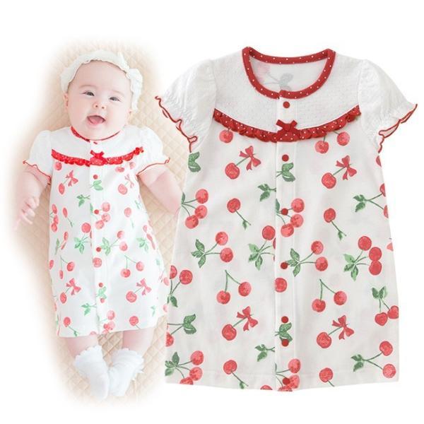 aebe527f64dbe ベビー服 赤ちゃん 服 ベビー ツーウェイオール 女の子 新生児 2wayオール ドレスオール スウィートガールさくらんぼ柄