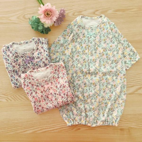 ベビー服 赤ちゃん 服 ベビー 新生児 ツーウェイオール 女の子 花柄 小花柄 50 60 小花柄新生児ツーウェイオール